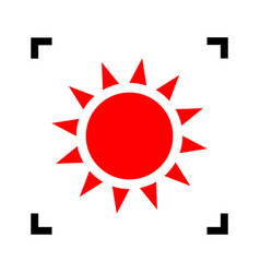 sun sign red icon inside vector image