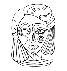 surreal abstract fantasy face girl coloring page vector image