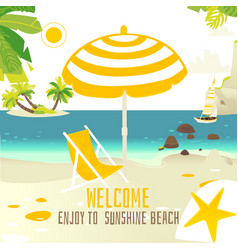 Tropic beach banner with rocks yacht sun chair vector