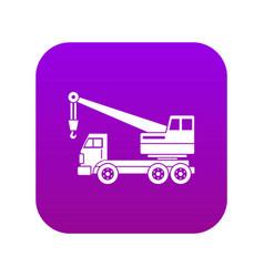 Truck crane icon digital purple vector