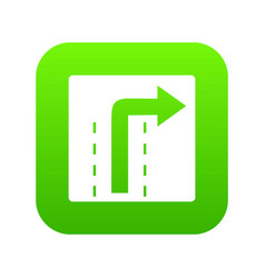 turn right traffic sign icon digital green vector image