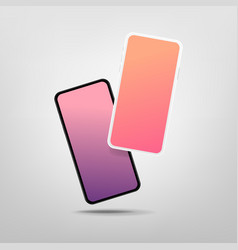 two modern smartphones with blank screen mock-up vector image