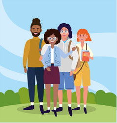 university woman and men friends with backpacks vector image