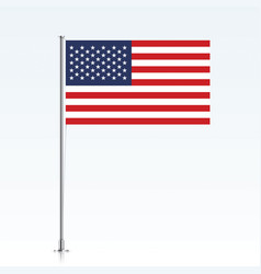 Usa flag on a metallic pole vector