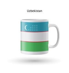 Uzbekistan flag souvenir mug on white background vector