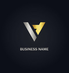 V initial triangle shape gold logo vector