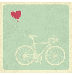 Vintage Valentines Card with Bicycle and Heart Bal vector image