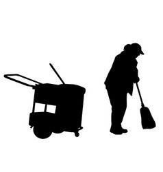 woman silhouette sweeping with broom vector image