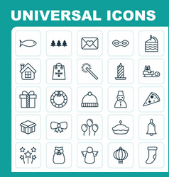 Year icons set collection of snow person festive vector