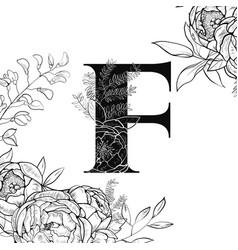 flower alphabet letter f pattern vector image vector image