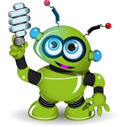 Green Robot and lamp vector image