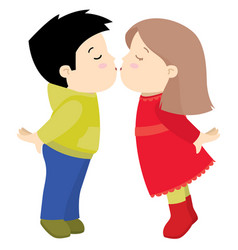 little cute boy and girl kissing valentine day vector image vector image