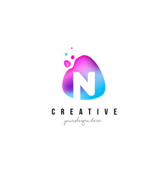n letter dots logo design with oval shape vector image vector image