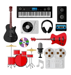 Set of music and sound objects isolated on white vector image