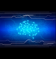 abstract brain with circuit technology background vector image