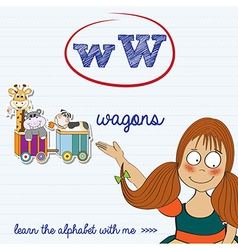 alphabet worksheet of the letter w vector image