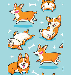 Corgi seamless pattern vector