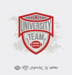 Rugby emblem university team and design elements vector image