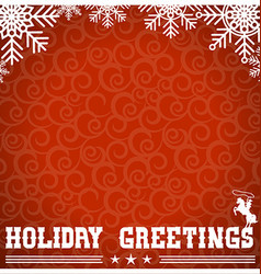 Western red christmas card with text and vector image