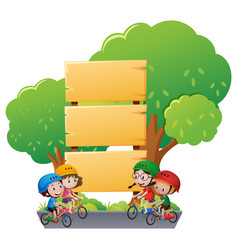 wooden sign template with kids on bike vector image