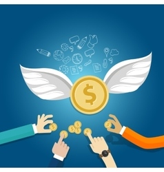angel investor money fund management startup coin vector image vector image