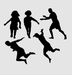 People running and jumping silhouette vector