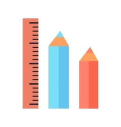 Ruler and Two Pencils Icons Isolated on White vector image