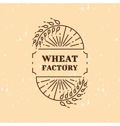Wheat factory field logo line art icon vector