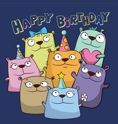 birthday card with funny cartoon bears vector image