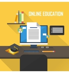 Flat of e-learning vector image