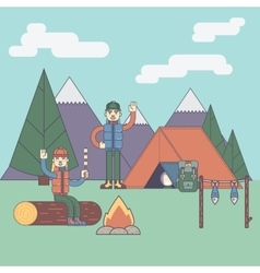 Friends next to camping fire vector image