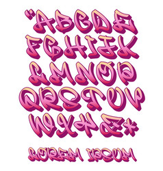 graffiti alphabet 3d- hand written - font vector image