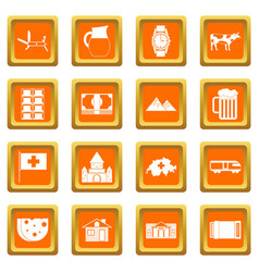 switzerland icons set orange vector image