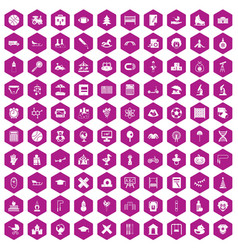 100 kids icons hexagon violet vector image