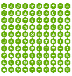 100 water sport icons hexagon green vector