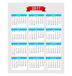 2017 calendar week start sunday vector image