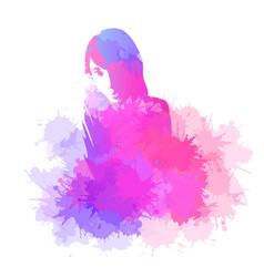 abstract drawing of a girl with watercolor vector image