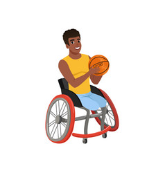 Afro-american guy without legs sitting in vector