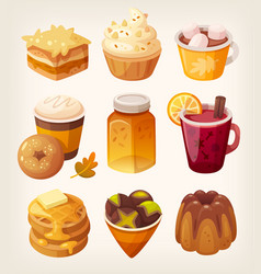 Autumn sweets and desserts vector