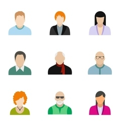 Avatar of different people icons set vector image