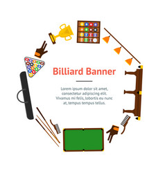 billiard game equipment banner card circle vector image