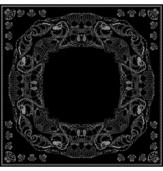 Black and white marine bandana square pattern vector