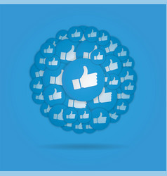 Blue hand likes signs on blue background vector