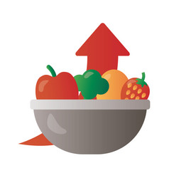 Bowl with fruits and vegetables price hike arrow vector
