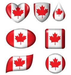 Canada flag in various shape glossy button vector image