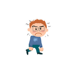 Cartoon character boy with glasses angry vector