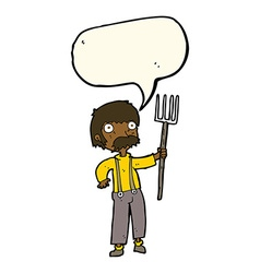 Cartoon farmer with pitchfork with speech bubble vector