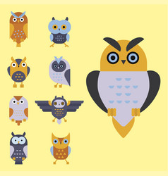 cartoon owl bird cute character symbol sleep sweet vector image