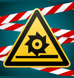 Caution cutting shafts safety warning sign vector