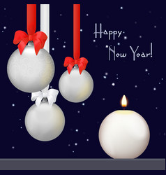christmas balls with red and white ribbon bow vector image